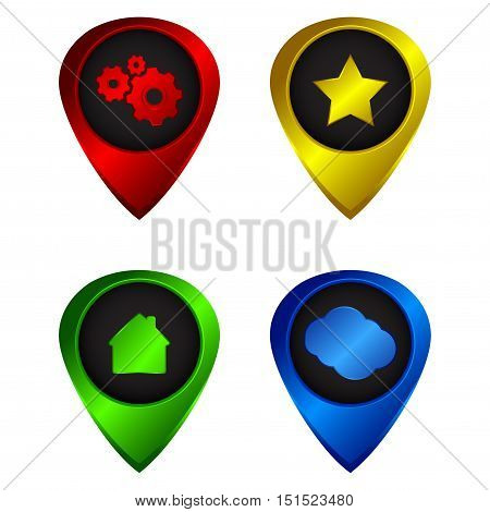 Vector set of tags to the map of red blue green and yellow colors of icons at home stars clouds and gears