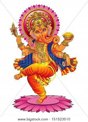 Vector drawing dancing Ganesha on a white background