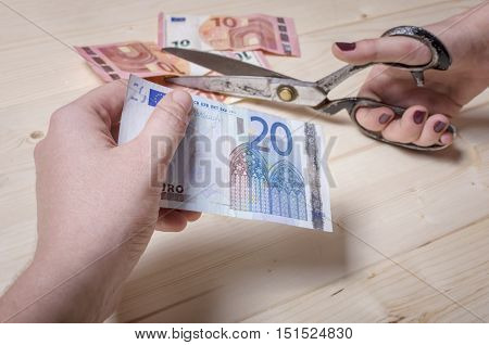 Horizontal view of hands cutting banknote. Economy crisis concept.