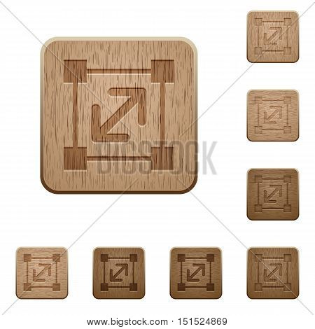 Set of carved wooden resize element buttons in 8 variations.