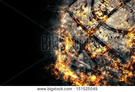 Basketball on a black background. Fire illustration.