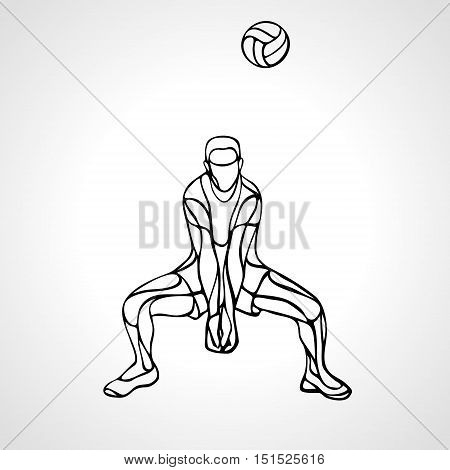 Volleyball player receiving feed. Silhouette of a abstract volleyball player returning a ball with a dig. Vector clipart illustration. Eps 8