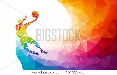 Polygonal geometric professional basketball player on colorful low poly background doing jump shot with space for flyer poster web leaflet magazine. Vector illustration