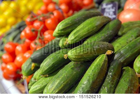 Cucumbers on display in a big supermarket