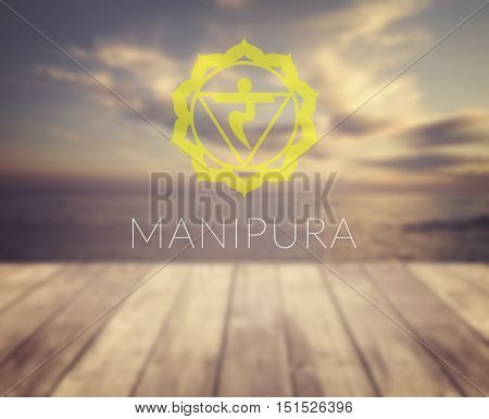 Manipura chakra symbol. Poster for yoga class with a sea view.