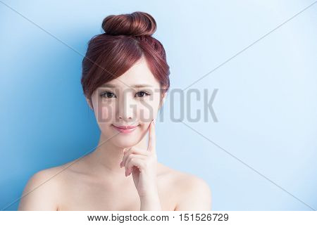 beauty woman smile to you isolated on bluebackground asian