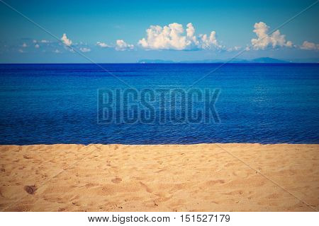 bright landscape of the sea coast and sky with the horizon in retro style for a natural background or for natural wallpaper