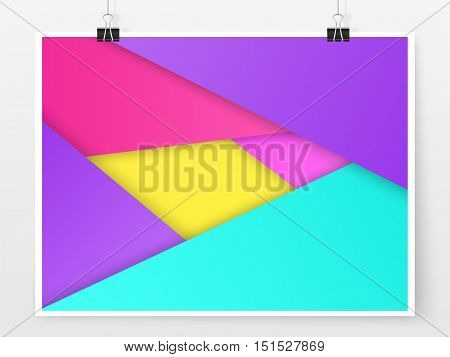Material Design Paper Poster Template Binder Clips Colorful 1