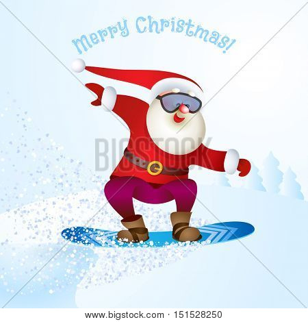 Santa in glasses snowboarding. Merry Christmas card with snow landscape. Vector illustration for your design. Old men cartoon characters. Christmas and New Year theme