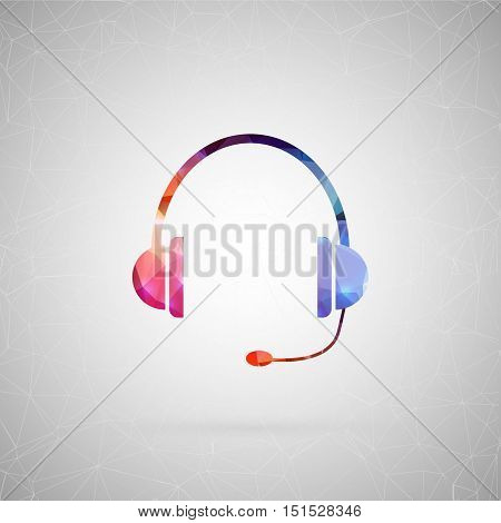 Abstract creative concept vector icon of headphone. For web and mobile content isolated on background, unusual template design, flat silhouette object and social media image, triangle art origami.