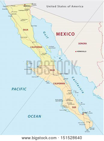 baja california road and administrative map, Mexico