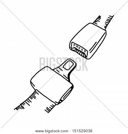 illustation vector hand drawn doodle of seat belt or safety belt isolated on white