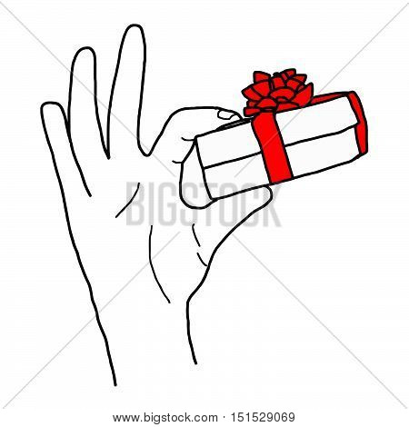 illustation vector hand drawn doodle of Hand holding a gift box with red bow isolated on white.