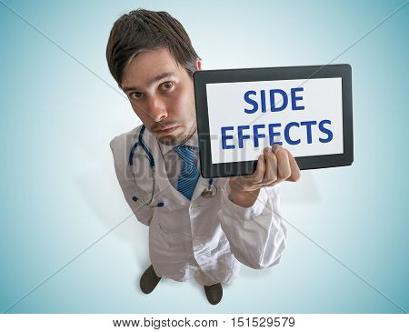 Doctor Is Warning Against Side Effects Of Medicine. View From To