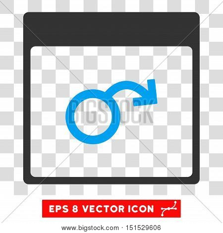 Vector Impotence Calendar Page EPS vector pictograph. Illustration style is flat iconic bicolor blue and gray symbol on a transparent background.