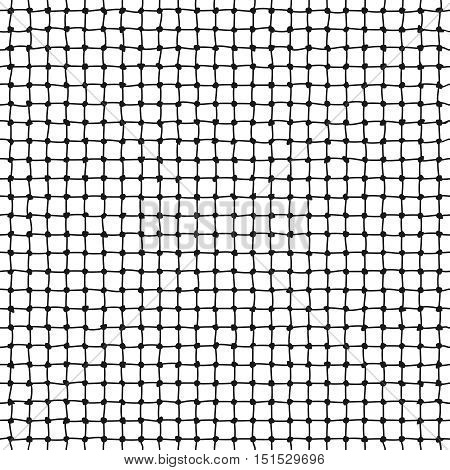 Rope net vector seamless pattern. Marine mesh form thread illustration
