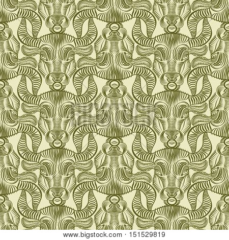 Repaint seamless pattern: bull's head. Beige background