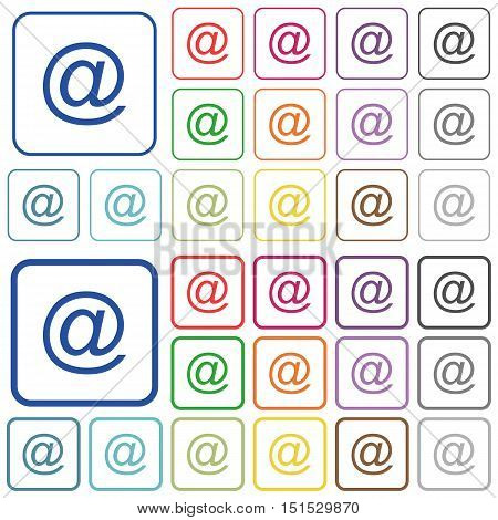 Set of email symbol flat rounded square framed color icons on white background. Thin and thick versions included.