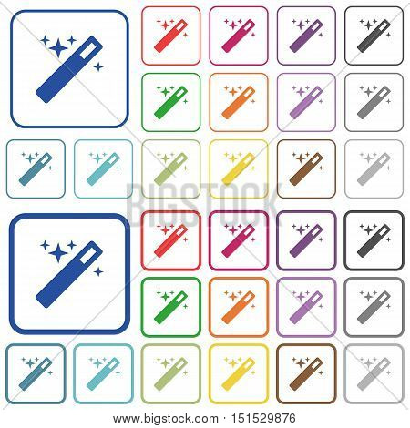 Set of magic wand flat rounded square framed color icons on white background. Thin and thick versions included.