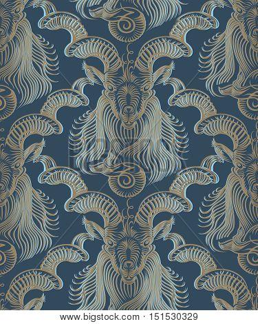 Repaint seamless pattern: Capricorn. Repaint seamless pattern, blue background