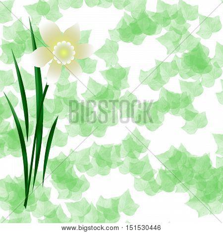 pastel spring bloom on ivy background illustration