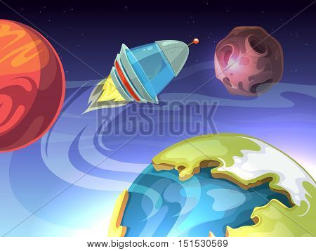 Space vector cartoon comic background with spaceship and planets. Rocket in galaxy, satellite in cosmos illustration