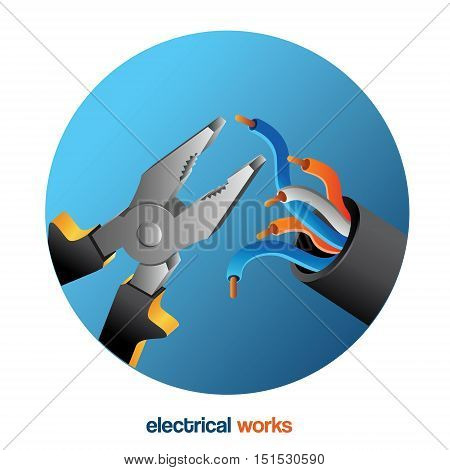 electrical works wire pliers . Electrical service illustration