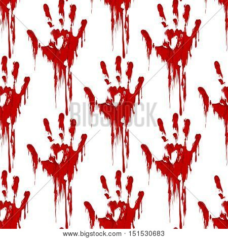 Bloody hand print seamless pattern horror background. Vector illustration