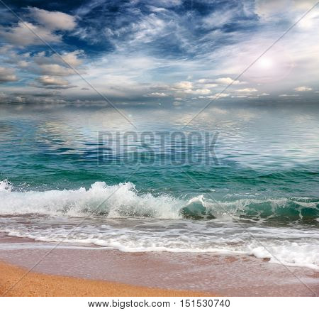 beach sandy and sunny area of the Mediterranean Sea