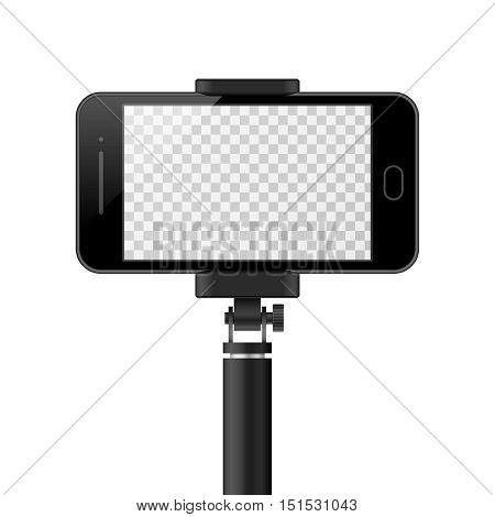 Smartphone vector template with empty screen and monopod. selfie, self portrait mockup. Modern gadget with stick for photo illustration