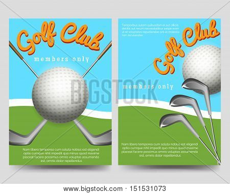 Golf club brochure flyers template vector illustration. Sport flyers with clubs and balls