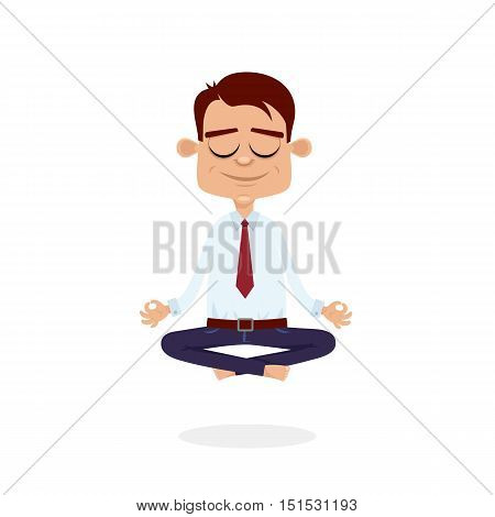 Office Meditation. Businessman Sitting In Yoga Lotus Pose, Relax And Hovering In The Air. Vector Car