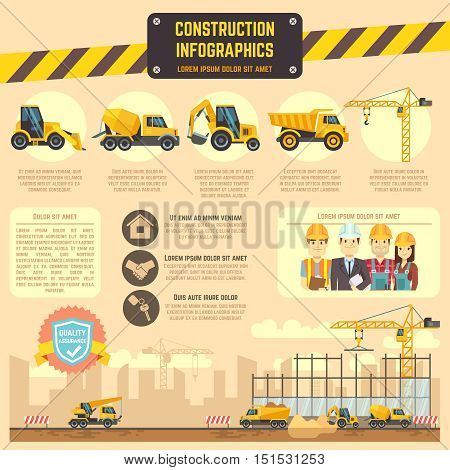 Construction infographic vector template with construction machinery, charts, diagrams for business presentation. Illustration of construction information banner
