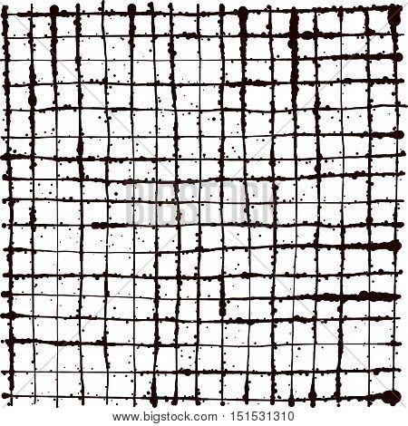 black splatter grunge line grid background over white