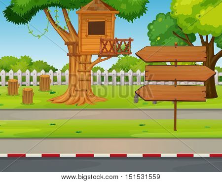 Treehouse and signs in the park illustration