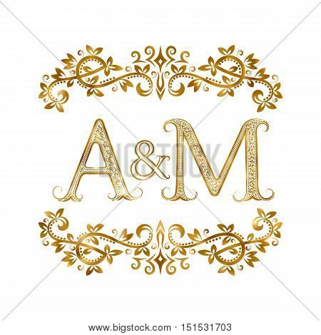 A&M vintage initials logo symbol. Letters A M ampersand surrounded floral ornament. Wedding or business partners initials monogram in royal style.