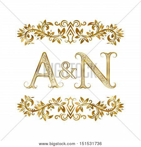 A&N vintage initials logo symbol. Letters A N ampersand surrounded floral ornament. Wedding or business partners initials monogram in royal style.