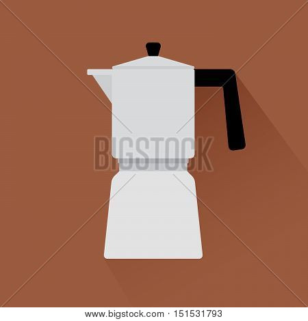 Coffee maker flat modern icon with shadow. Vector illustration