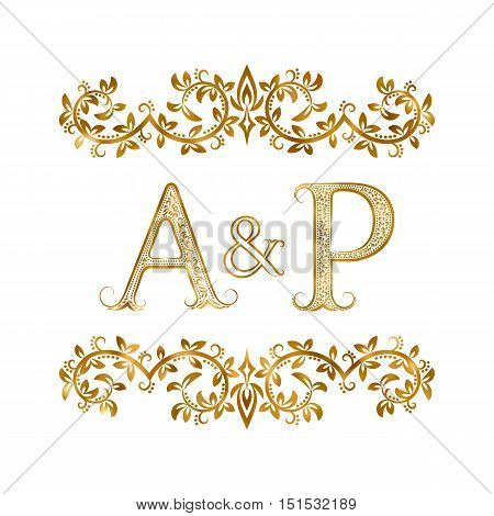 A&P vintage initials logo symbol. Letters A P ampersand surrounded floral ornament. Wedding or business partners initials monogram in royal style.