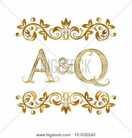 A&Q vintage initials logo symbol. Letters A Q ampersand surrounded floral ornament. Wedding or business partners initials monogram in royal style.