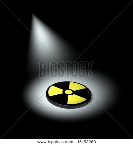 A 3D render of nuclear symbol under spotlight poster