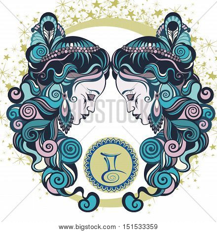 Decorative Zodiac sign Gemini for your design