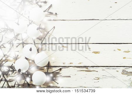 Christmas decoration background Overhead view of Handmade christmas ornaments on rustic wood table Winter and New year concept