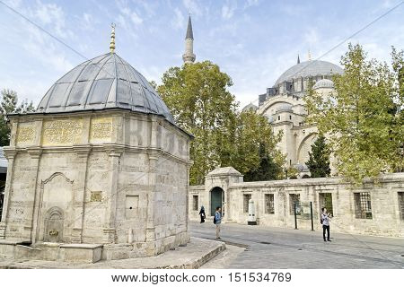 ISTANBUL, TURKEY, OCTOBER 11,2016: Exterior shot of fountain (Fountain Of Calculation) in front of Suleymaniye Mosque complex at Fatih District of Istanbul, Turkey.