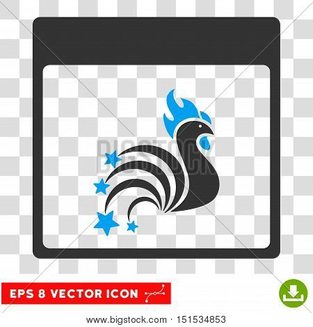 Vector Rooster Fireworks Calendar Page EPS vector icon. Illustration style is flat iconic bicolor blue and gray symbol on a transparent background.