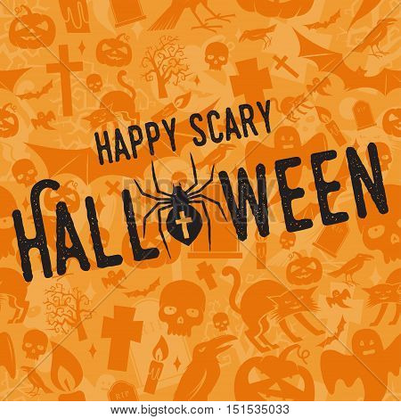 Happy scary Halloween party concept. Vector Halloween retro badge. Concept for shirt or logo, print, stamp. Spider and web. Typography design- stock vector.