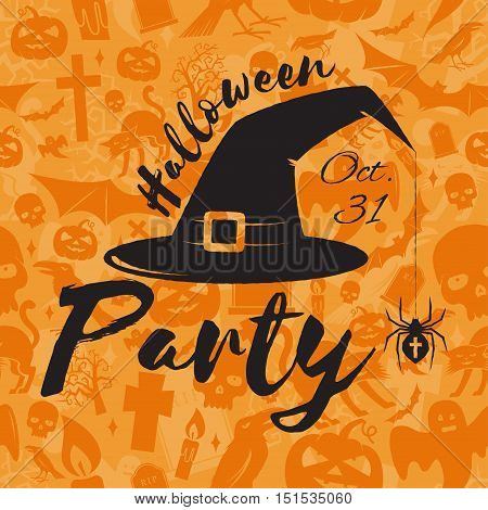 Halloween party concept. Vector Halloween retro badge. Concept for shirt or logo, print, stamp. Hat, spider and web. Halloween design. - stock vector.