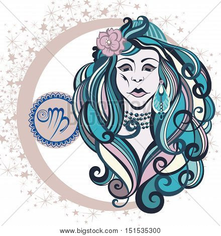 Decorative Zodiac sign Virgo for your deisgn