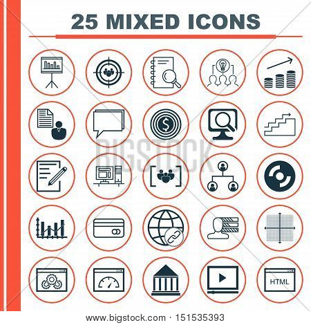 Set Of 25 Universal Icons On Education Center, Presentation, Video Player And More Topics. Vector Ic