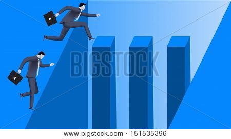 Career inequality business concept. Different carrier opportunities for different people. Clean and easy way for one and deep abyss for another. Vector illustration. Use as template, card or logo.